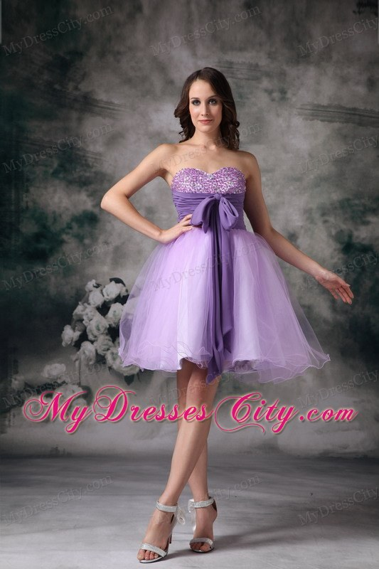 Customize Lilac A-line Beading Homecoming Dress With Bowknot ...