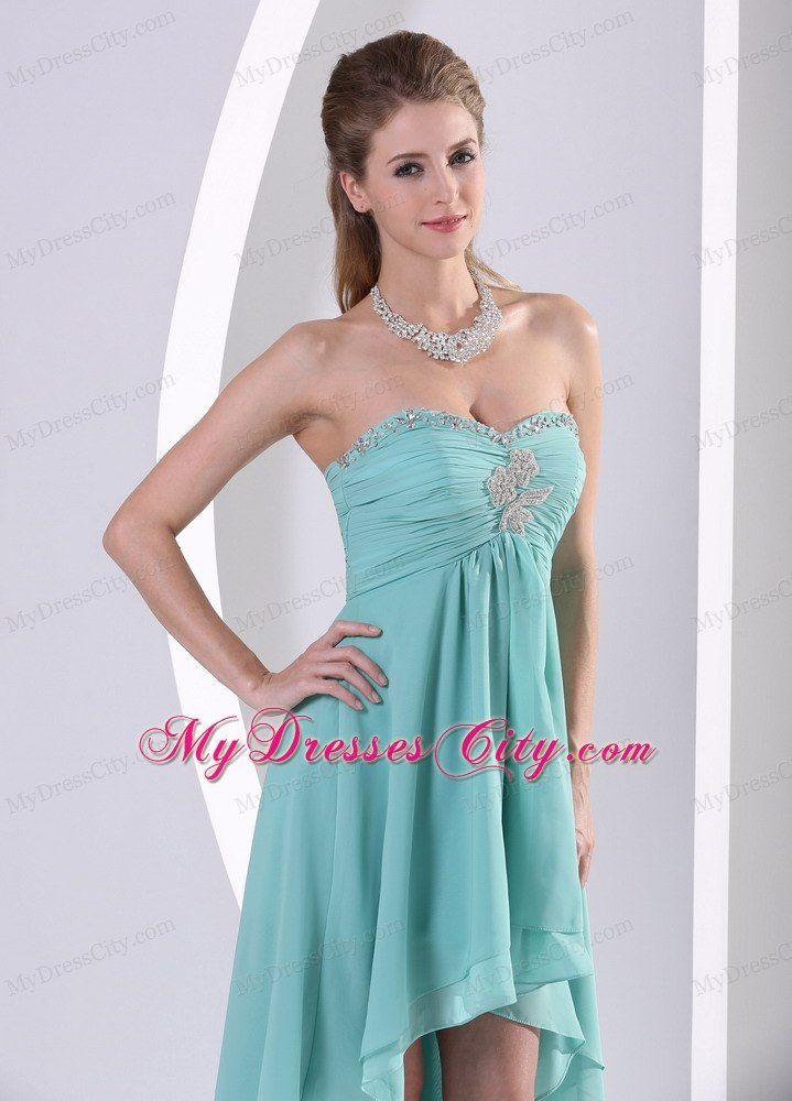 low Turquoise Homecoming Dress With Beading and Ruche For Party