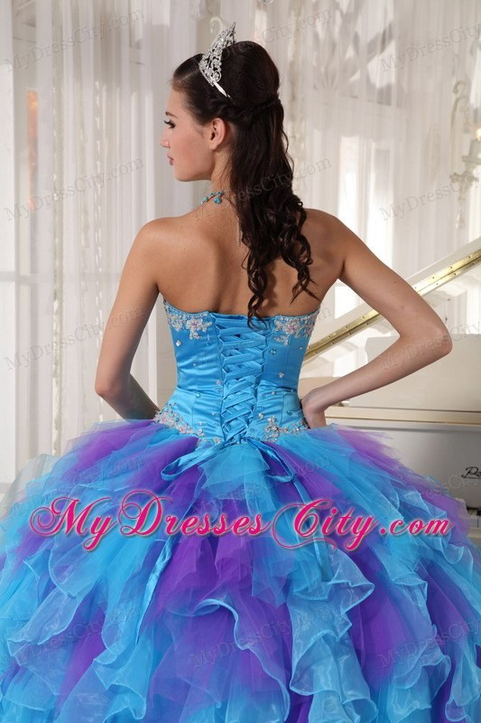 Blue and Purple Strapless Appliqued Quinceanera Dresses