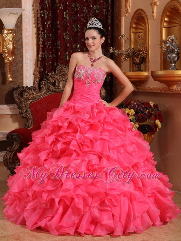 Pretty Hot Pink Puffy Quinceanera Dresses Cheap Price