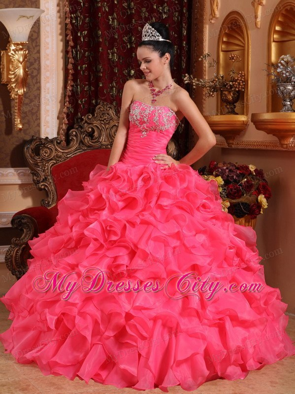 Hot Pink Ball Organza Sweet 15 Dresses with Beading and Appliques ...