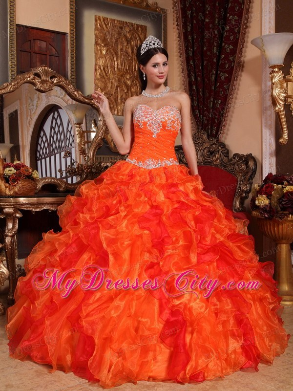 Fabulous Orange Sweetheart Organza Beading Dress for Quince ...