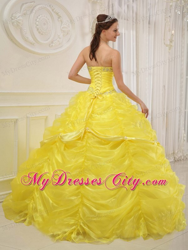 Yellow Sweetheart Organza Dress for Quince with Pick-ups ...