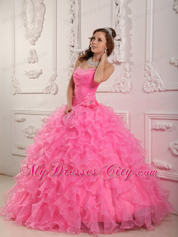 Sweetheart Organza Beading Rose Pink Quinceanera Dress ...