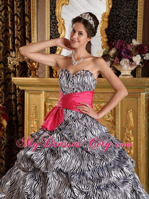 Popular Sweetheart Zebra Quinceanera Dress with Hot Pink Sash ...