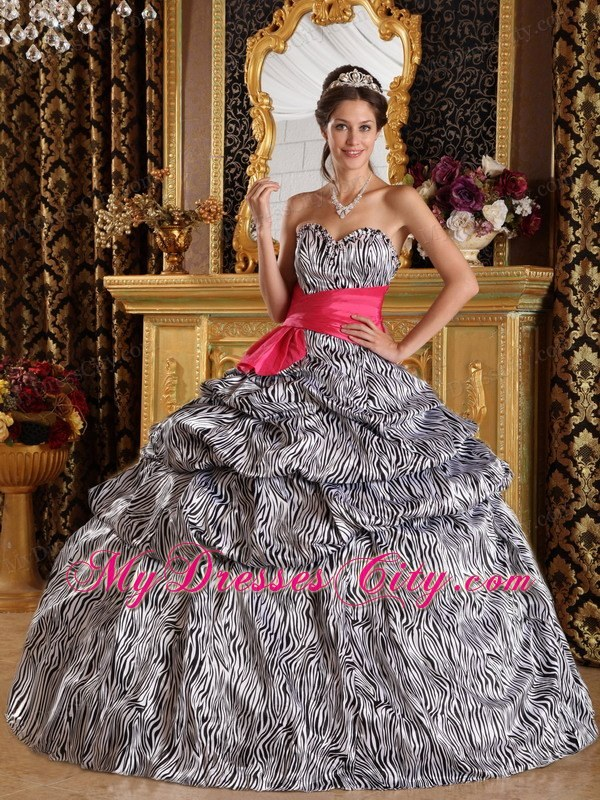 Popular Sweetheart Zebra Quinceanera Dress with Hot Pink Sash ...
