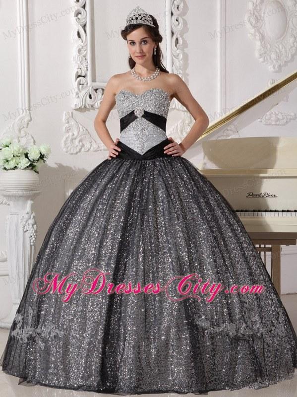 Black Sweetheart Floor-length Sequined Dress for Sweet 16 ...
