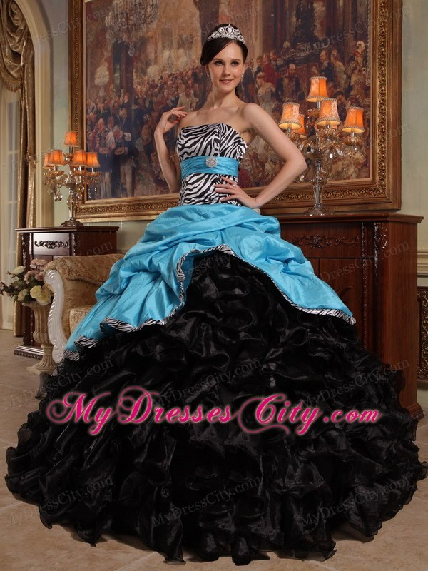 Zebra Strapless Ruffles Blue And Black Quinceanera Dress For Cheap