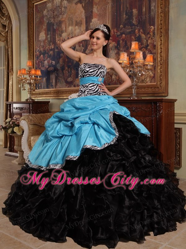 Strapless Ruffles Blue and Black Quinceanera Dress for Cheap