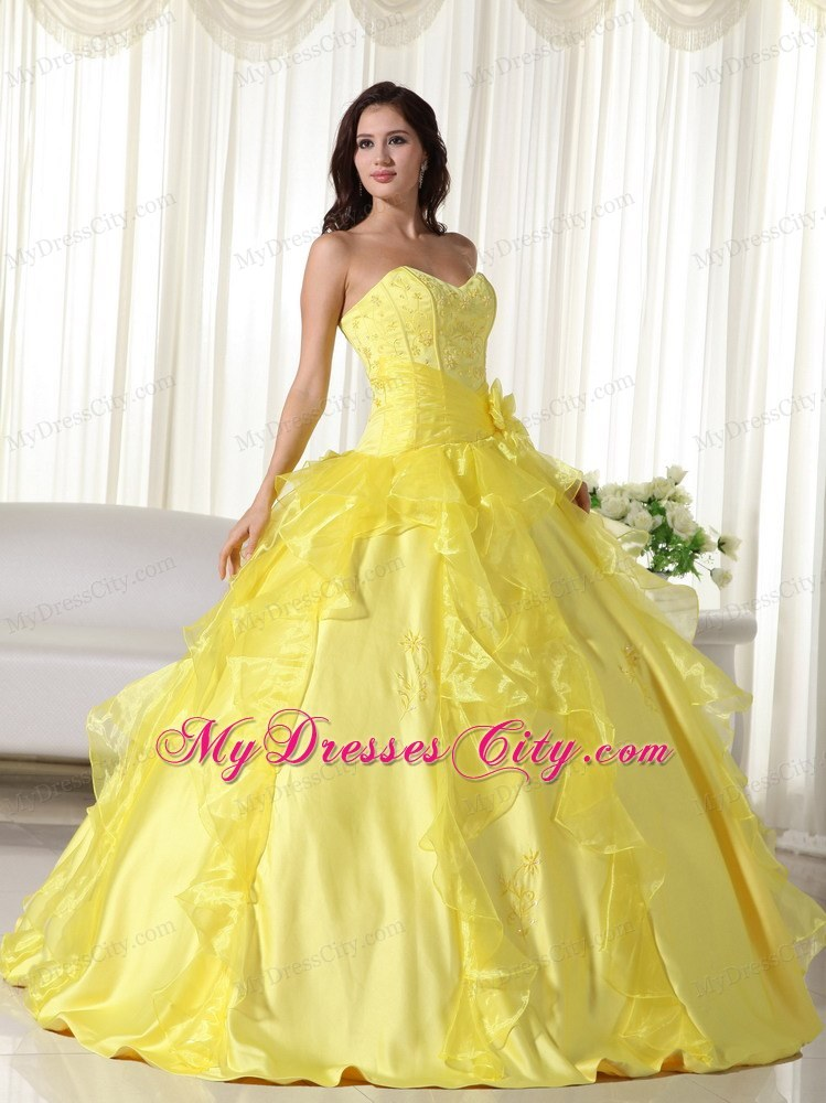 Custom Made Sweetheart Long 2013 Yellow Quinceanera Party Dress