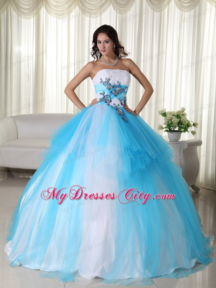 Tulle Ball Gown Strapless White and Blue Dress for Sweet 15 ...