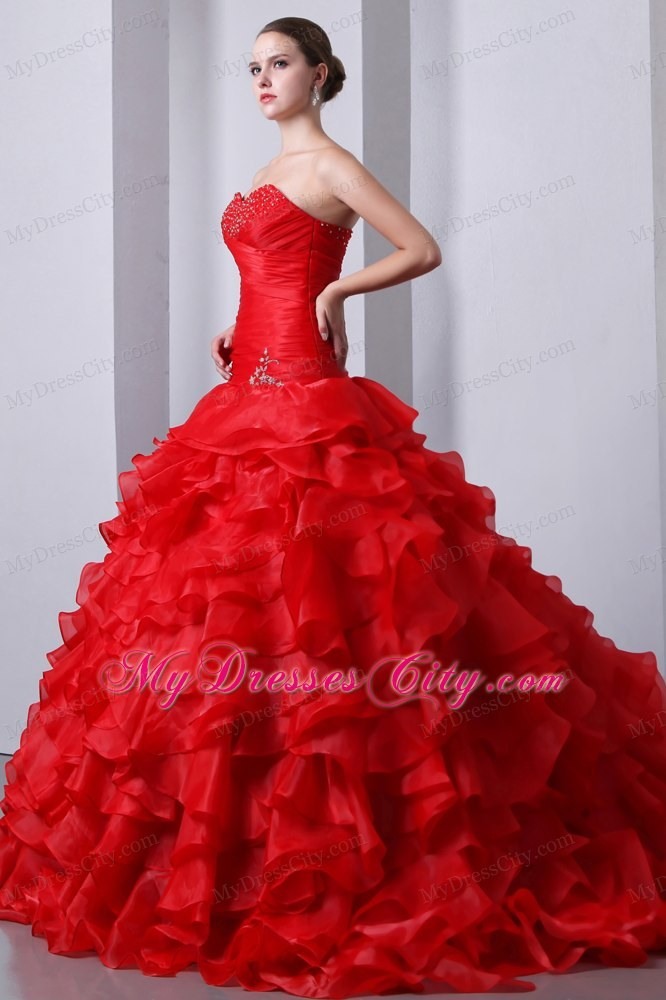 Red Organza Sweetheart Beading and Ruffles Quinceanera Dress ...
