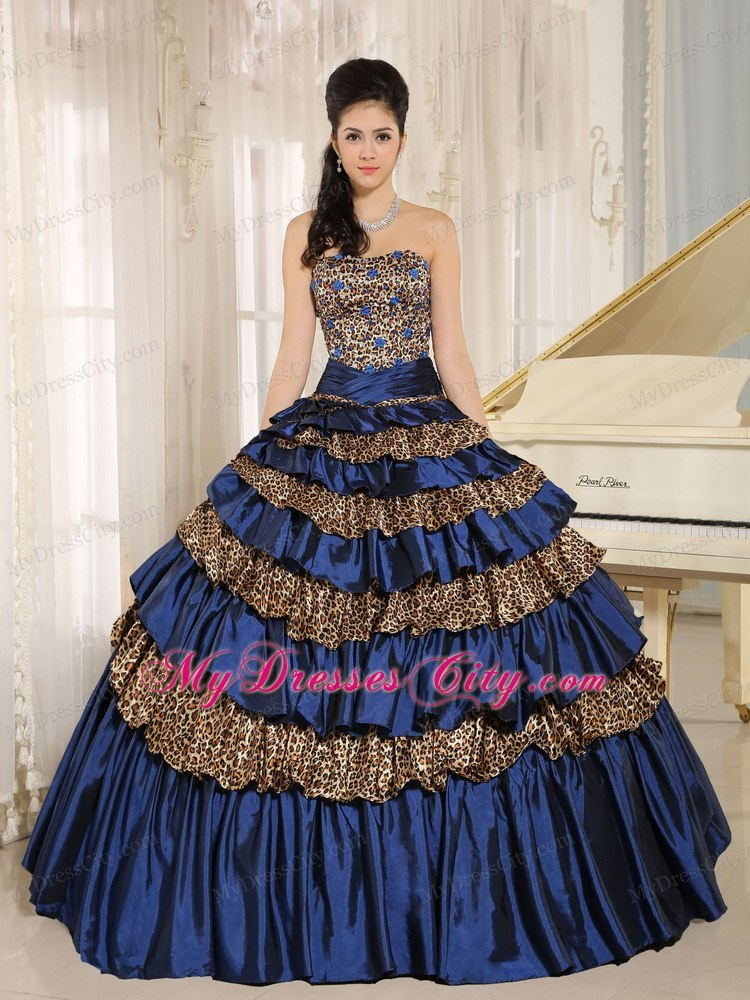 b11fe4f513 Navy Blue Leopard Ruffled Layers with Appliques Quinceanera Dress ...
