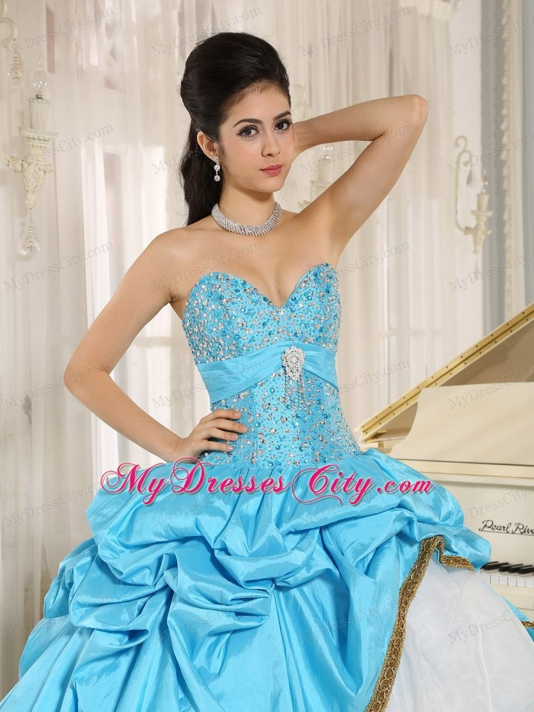 Aqua Blue and White Layers with Gold Rims Quinceanera Dress