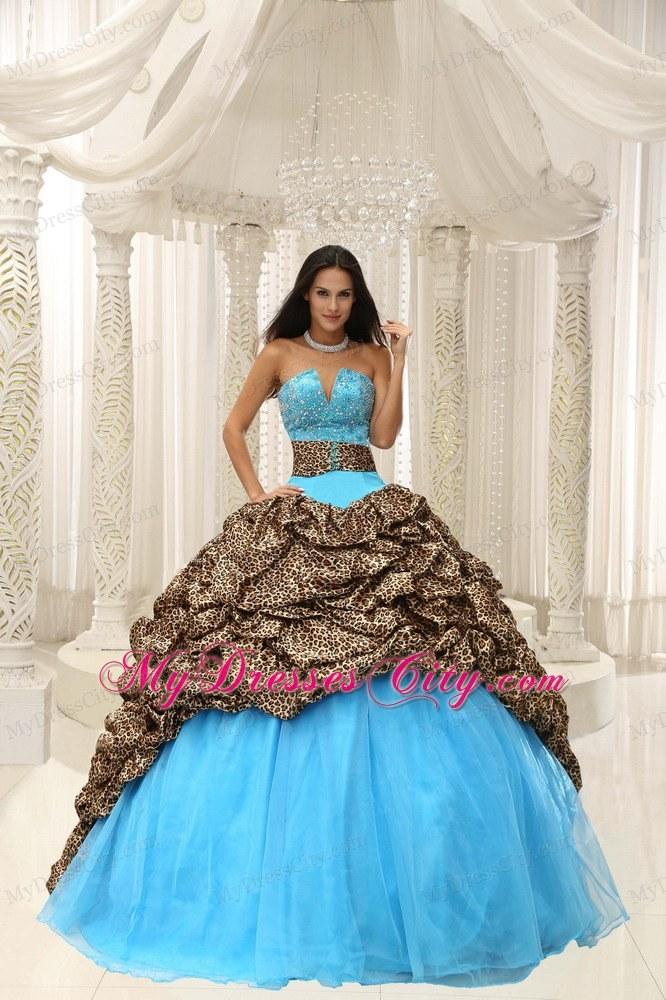 Leopard Court Train Aqua Blue Quinceanera Dress With V Cut