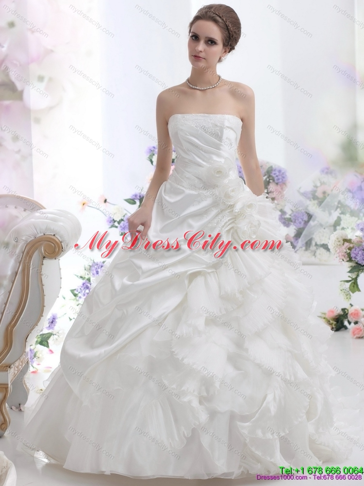 Maternity strapless ruffles bridal gowns with chapel train for Strapless wedding dress with ruffles