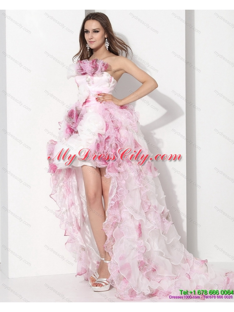 Dynamic Strapless High Low colored Wedding Dress with Ruffles for 2015