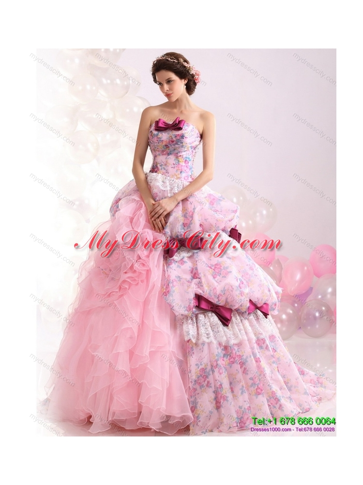 Multi Color Ball Gown Ruffles Colored Wedding Dresses With