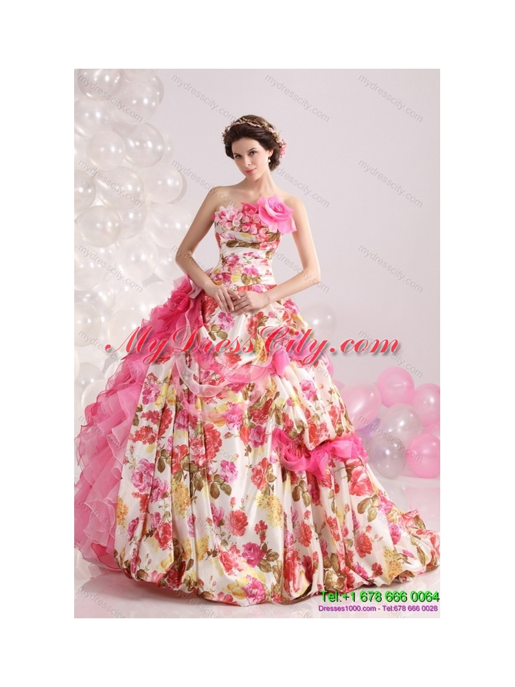 Ruffles Multi Color Colored Bridal Gown With Brush Train