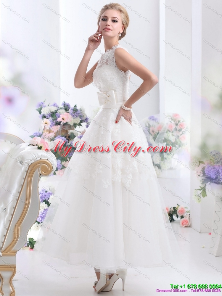 2015 cute scoop ankle length lace wedding dresses with for Lace ankle length wedding dress