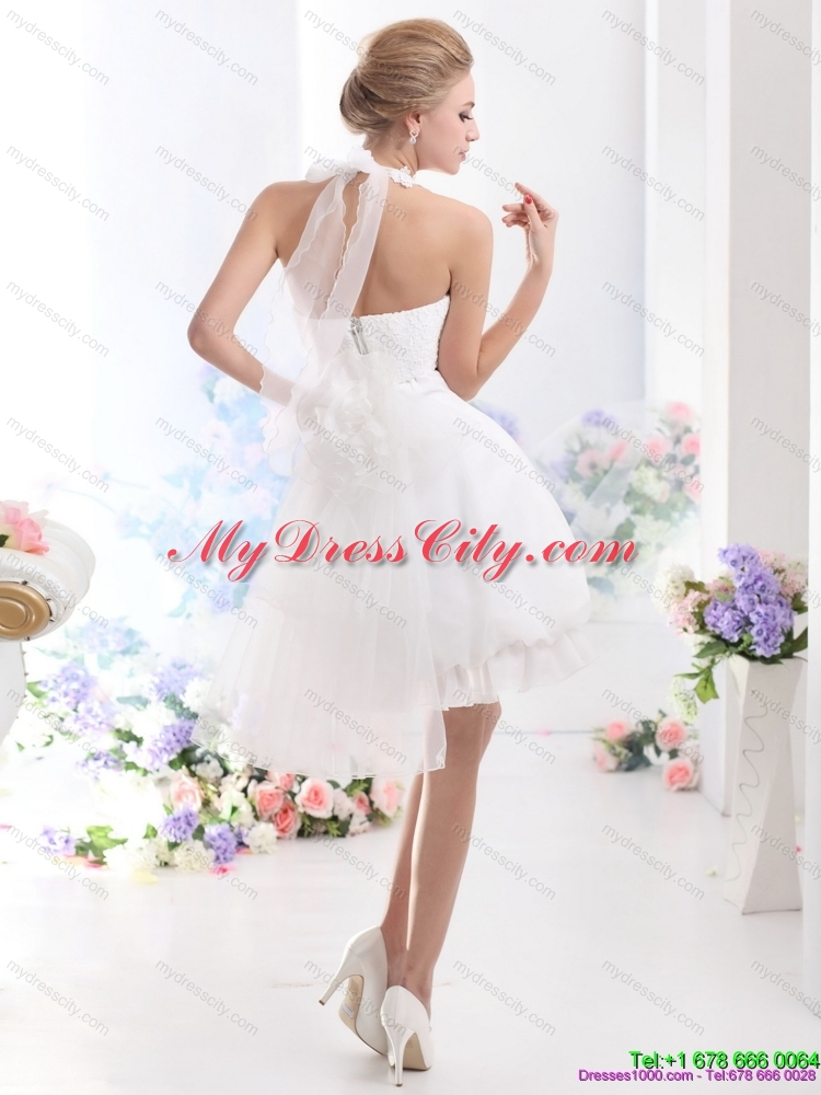 Cheap Halter Top Laced Short Bridal Gowns in White - MyDressCity.com