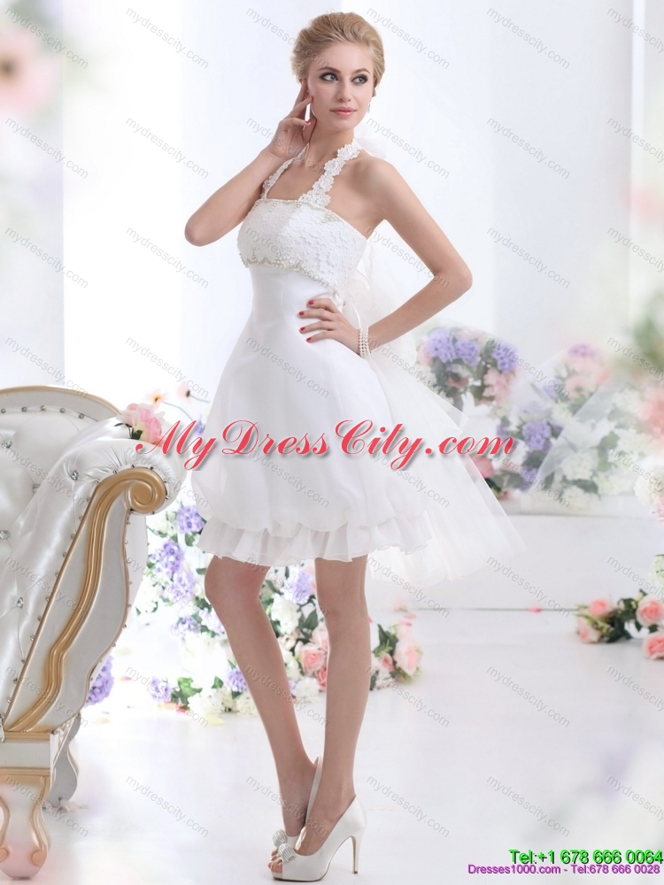 Cheap halter top laced short bridal gowns in white for White short wedding dresses cheap