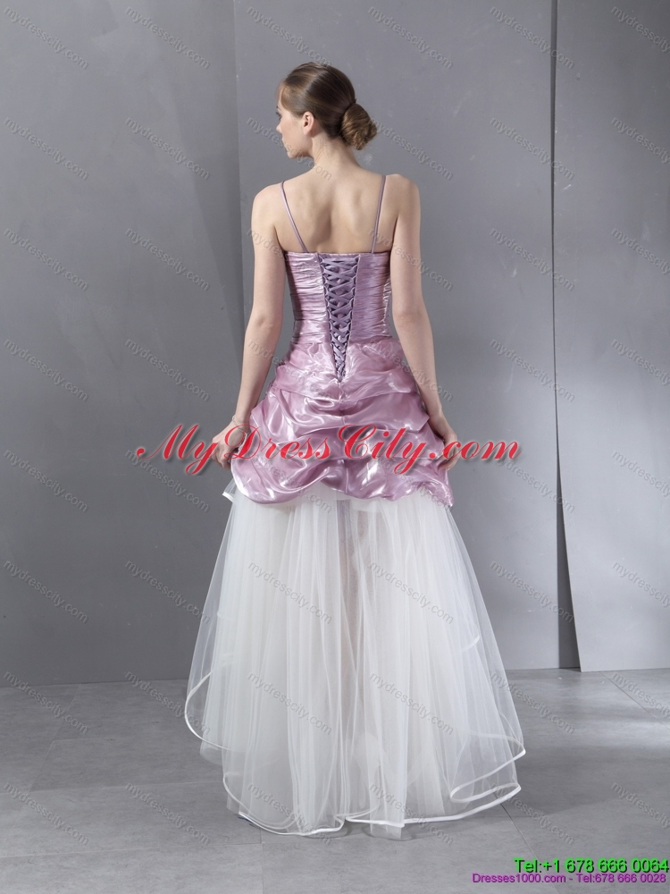 Ruched high low beaded wedding gowns in white and lilac for White and lilac wedding dress