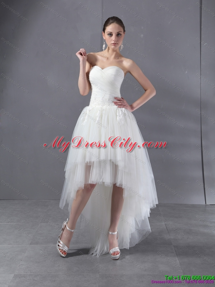 High Low White Sweetheart Wedding Dresses With Ruching And