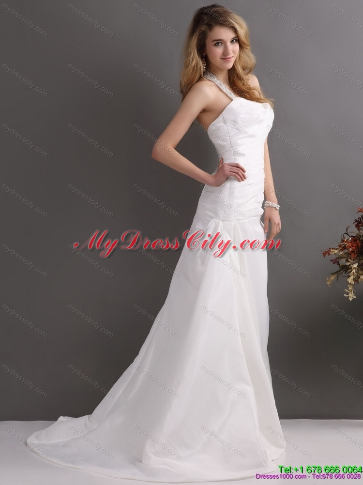 2015 the super hot halter top wedding dress with beading for Wedding dress halter top