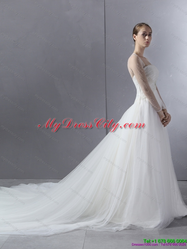 2015 maternity strapless a line wedding dress with lace for A line wedding dress with ruching