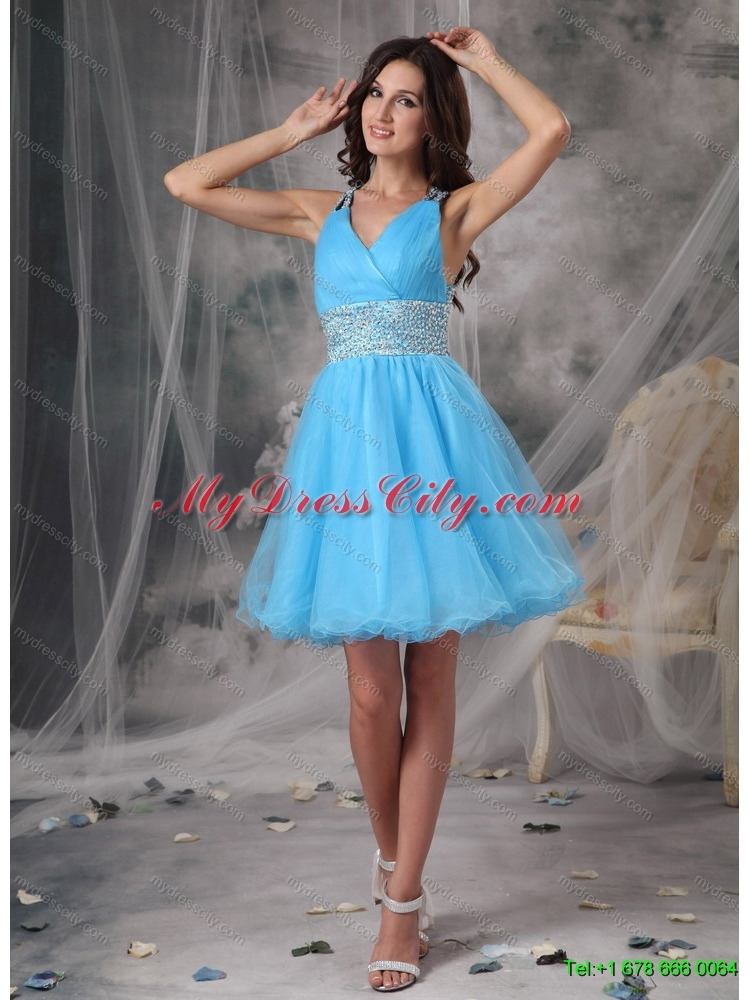 and Beading White Quinceanera Dress and Baby Blue V Neck Dama ...