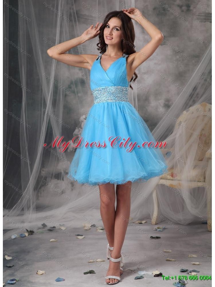 White And Blue Dama Dresses - Missy Dress