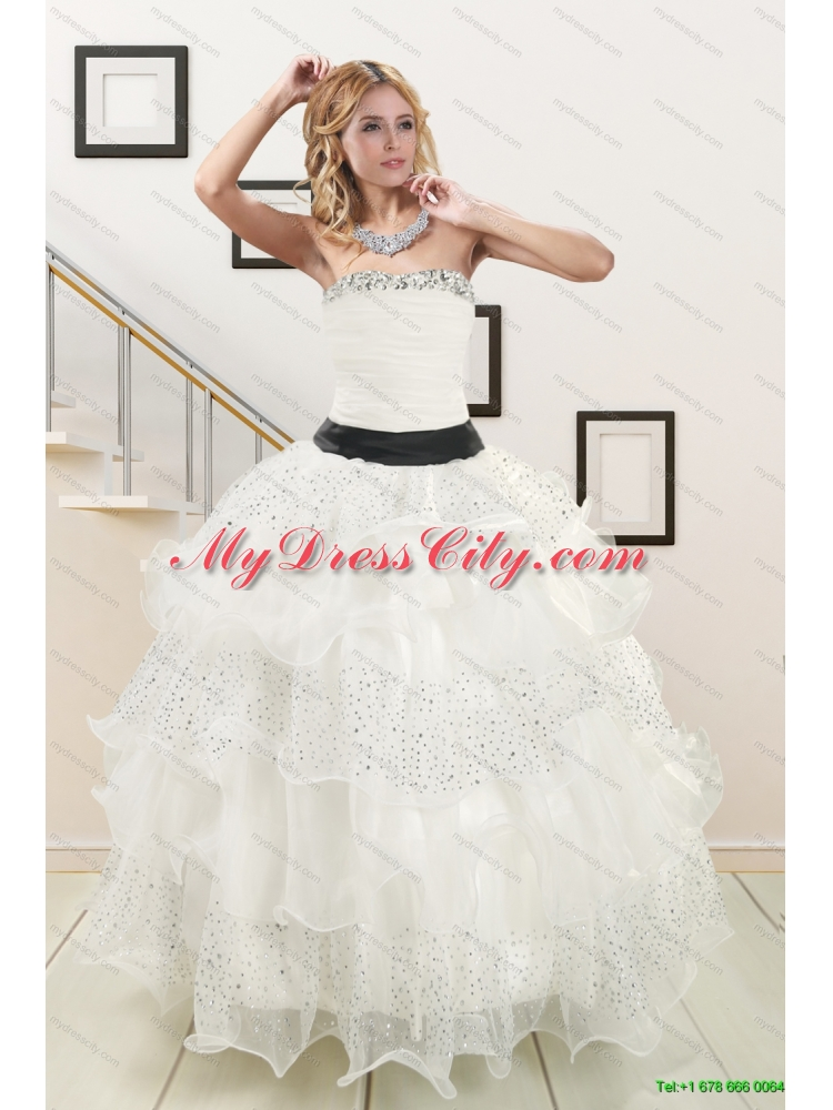 White Strapless Beading Quinceanera Dress And Baby Pink Short
