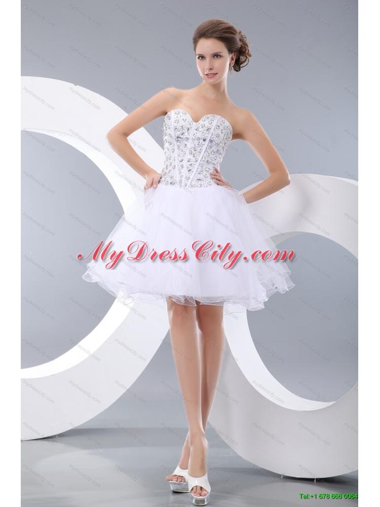 and Ruffles Quinceanera Dress and Rhinestones White Short Dama ...