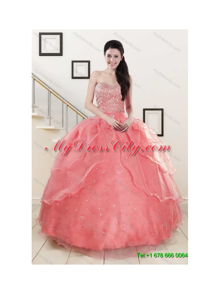 Beading Watermelon Quinceanera Gown and Baby Blue Short Dama Dresses ...