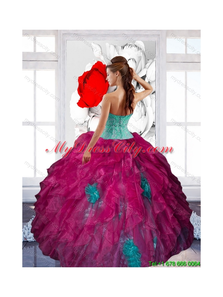 2015 Fashionable Sweetheart Appliques and Ruffles Quinceanera Dresses in Multi Color