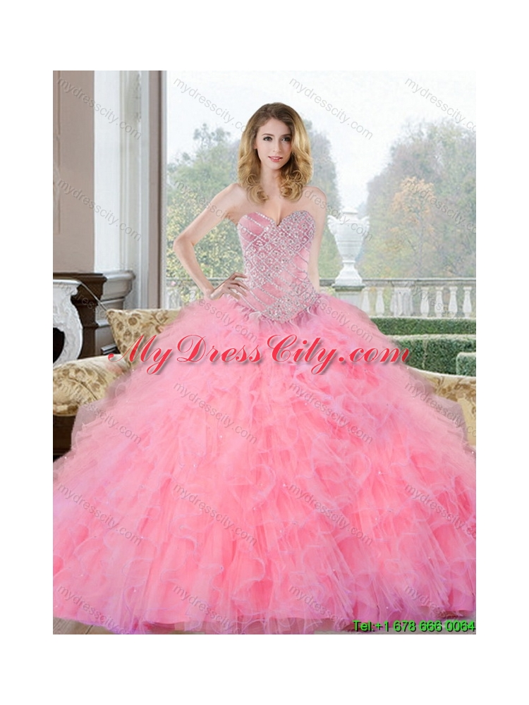 Latest Beading and Ruffles Sweetheart Quinceanera Dresses for 2015