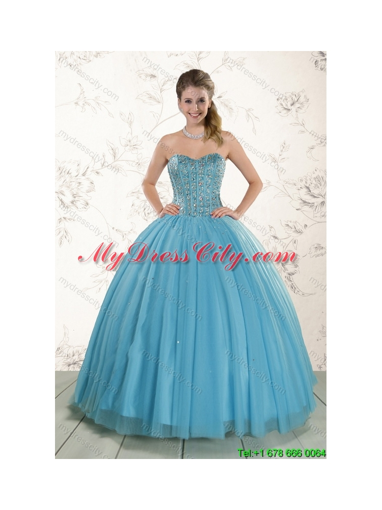 Cheap New Style Ball Gown Beaded Quinceanera Dress in Baby