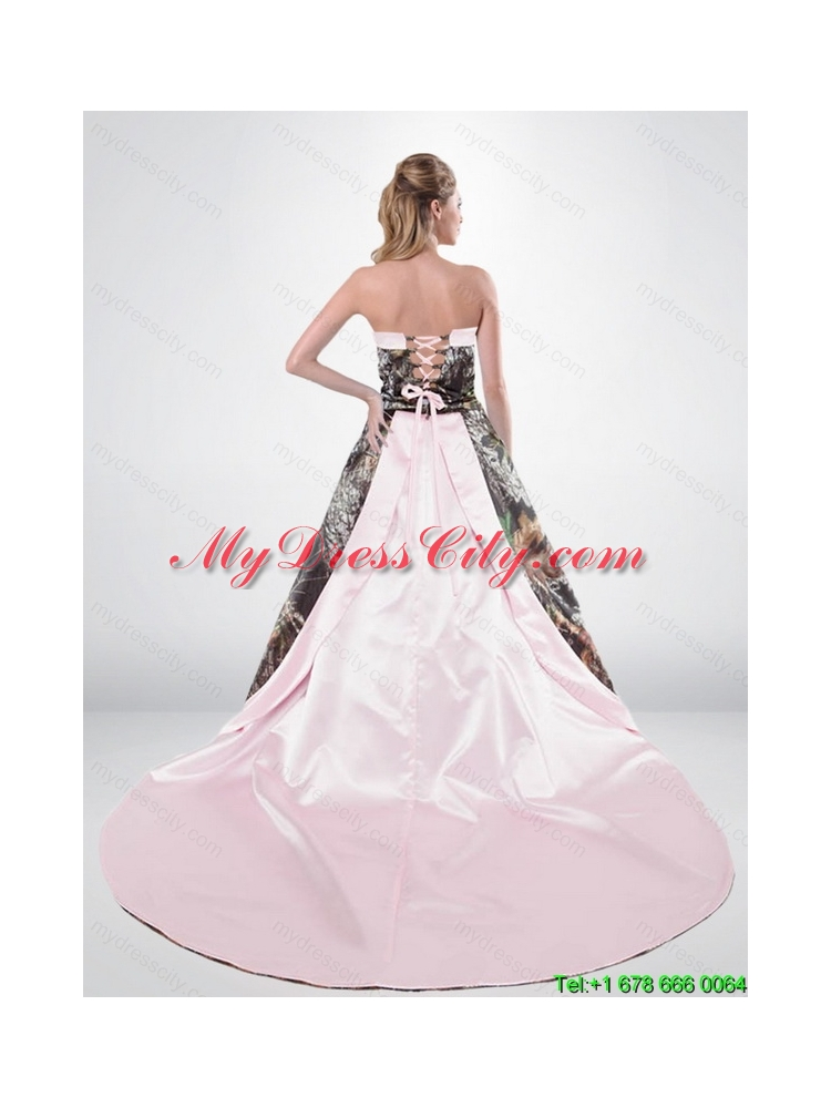 2015 Beautiful Strapless Chapel Train Camo Wedding Dresses