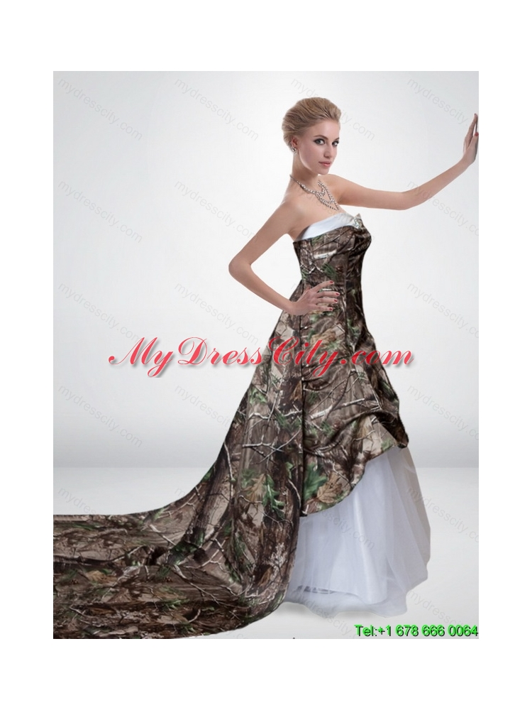Elegant A Line Strapless Camo Wedding Dresses with Court Train