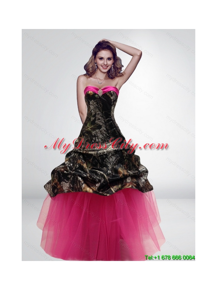2015 Fashionable Princess Long Hot Pink Camo Wedding Dresses ...
