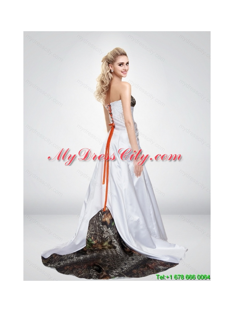 2015 pink a line strapless fashionable camo wedding for Red camo wedding dresses