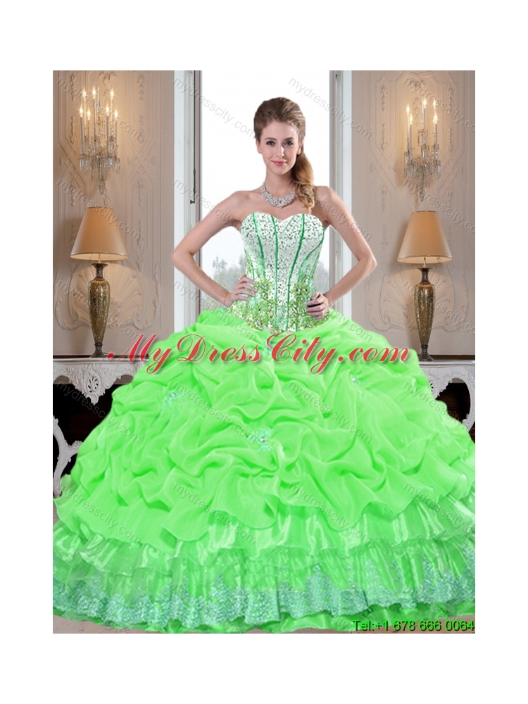 Artistic 2015 Quinceanera Dresses with Appliques and Pick Ups in Spring Green