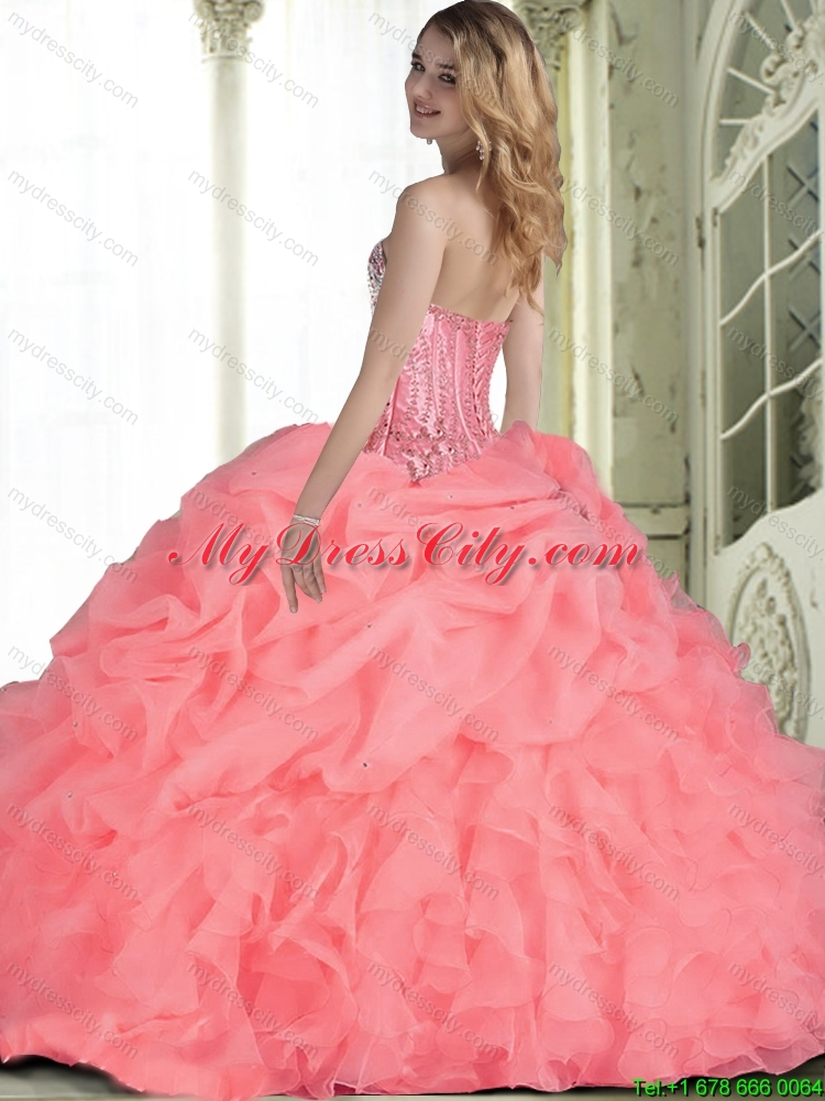 Elegant 2015 Quinceanera Dresses with Beading in Watermelon