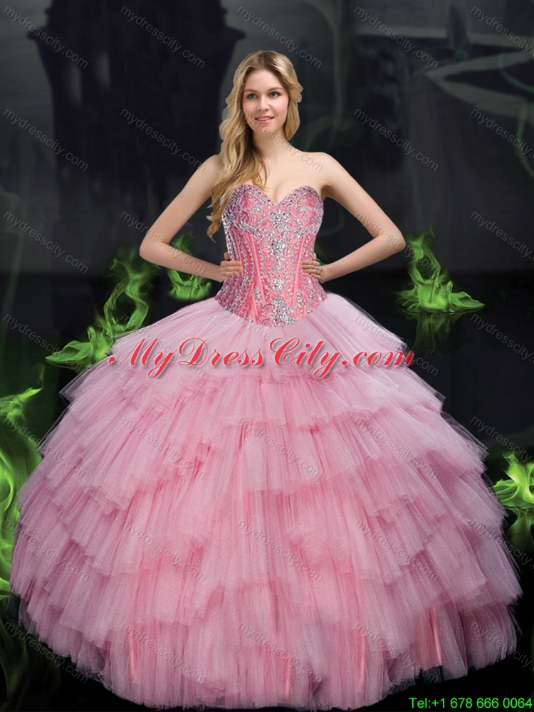 2015 Brand New Ball Gown Quinceanera Dresses with Beading in Baby Pink