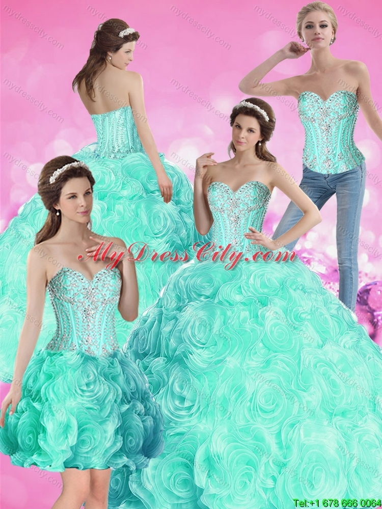 2015 Romantic Ball Gown Beaded Detachable Quinceanera Dresses with ...