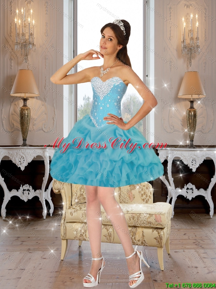 Cute Beaded 2015 Detachable Quinceanera Dresses in Baby Blue
