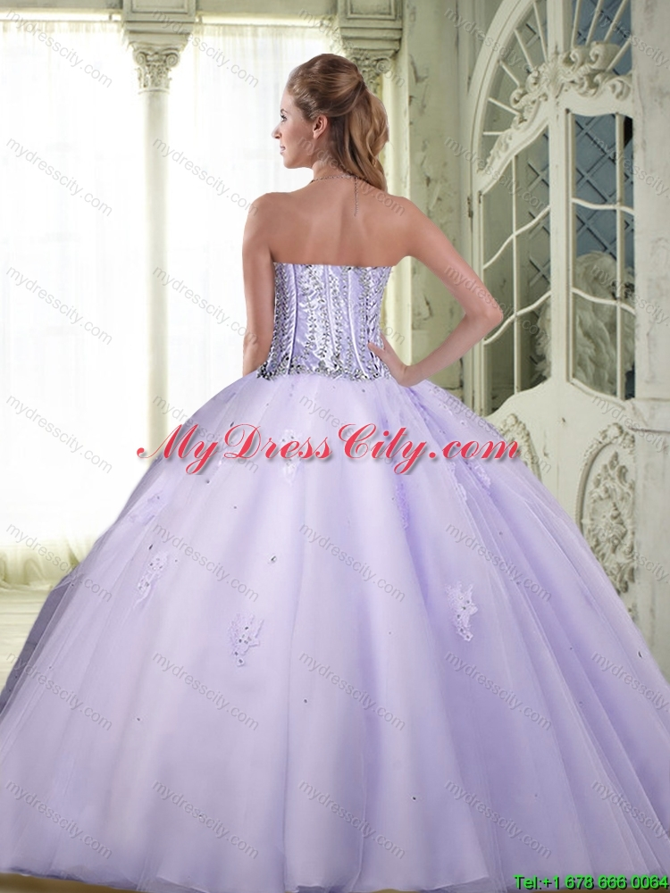 Luxurious Beaded Sweetheart Quinceanera Dresses in Lavender for 2015
