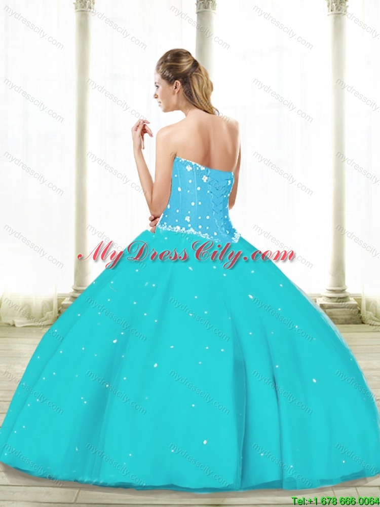 Simple Aqua Blue 2015 Quinceanera Dresses with Beading and Ruffles