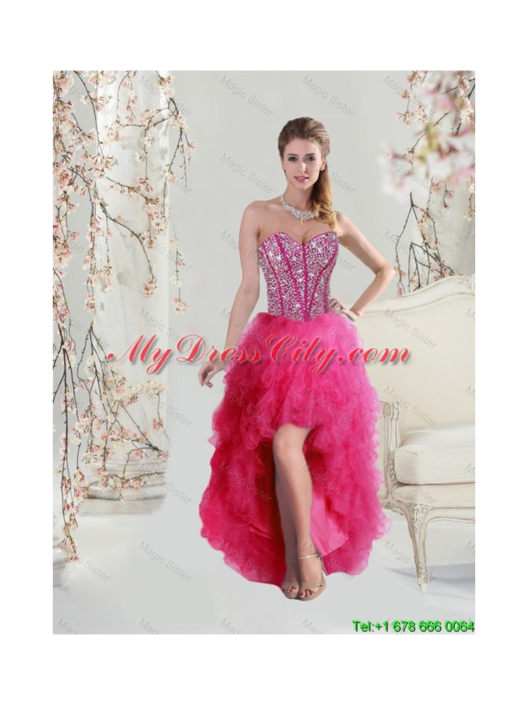 a6a01b6a911 Detachable Sweetheart Beaded and Ruffles Wonderful Quinceanera Dresses in Hot  Pink